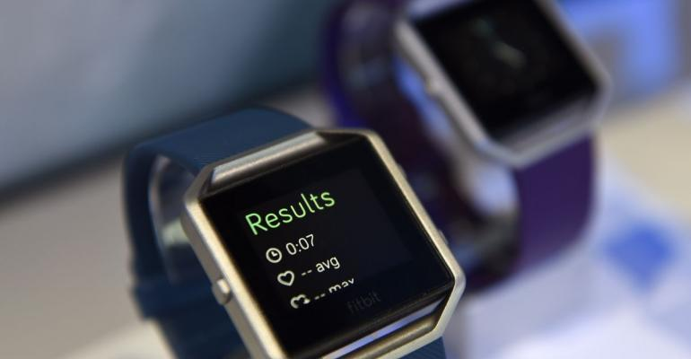 The Fitbit Inc. Blaze fitness tracker is displayed during the 2016 Consumer Electronics Show (CES) in Las Vegas, Nevada, U.S., on Friday, Jan. 8, 2016. Photographer: David Paul Morris