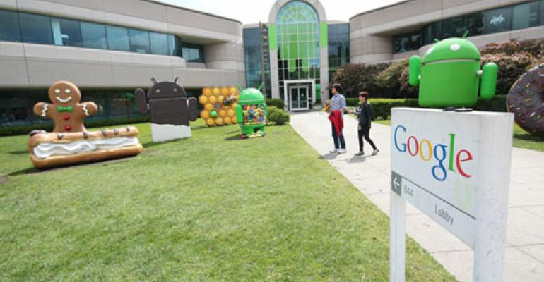 FOOD IS LARGE IN THE LIFE of Google employees even in terms of campus design Here the lawn in front of Building 44  features largerthanlifesize icons representing recent Android operating systems Ice Cream Sandwich Gingerbread and Jelly Bean Ready for KitKat anyone