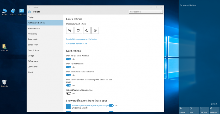 How to setup Quick Action Buttons in Windows 10
