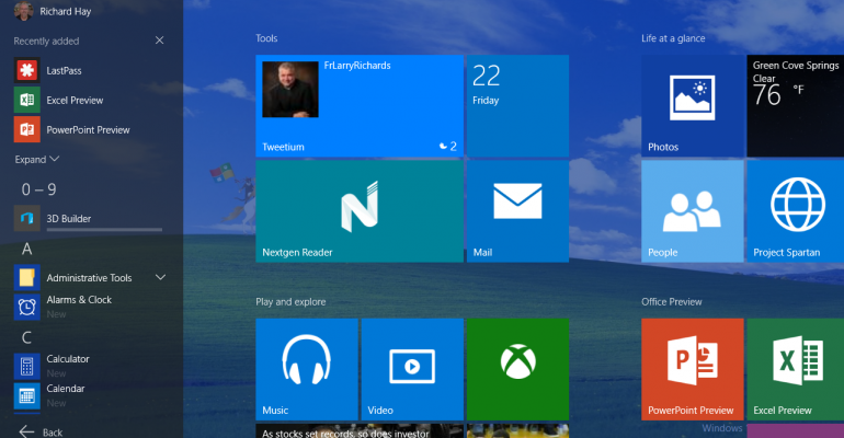 Gallery: Tablet Mode in Windows 10 build 10122