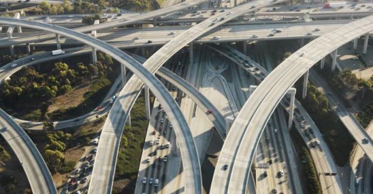 Los Angeles area freeway interchange