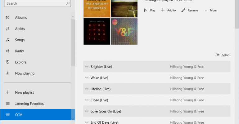 Gallery: Music and Video Preview Apps on Windows 10