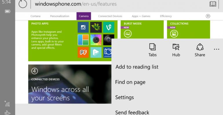 Gallery: Project Spartan Screenshots in Windows Mobile 10