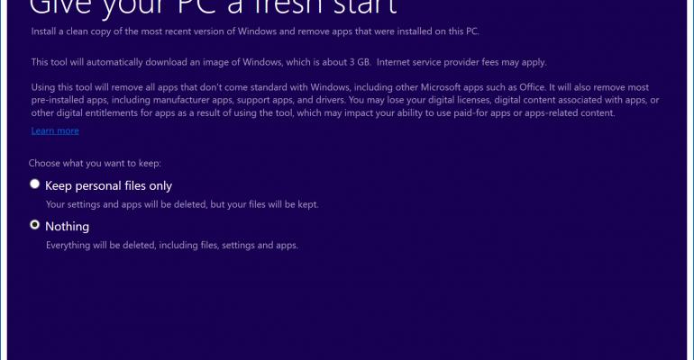 windows 10 refresh vs clean install