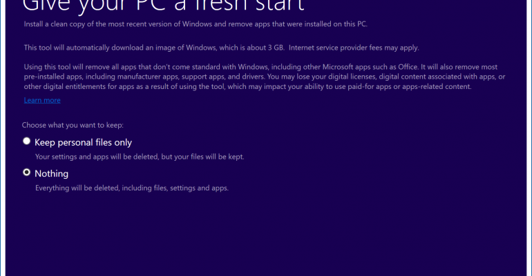 Hands on with the Windows 10 Anniversary Update Refresh Windows Tool