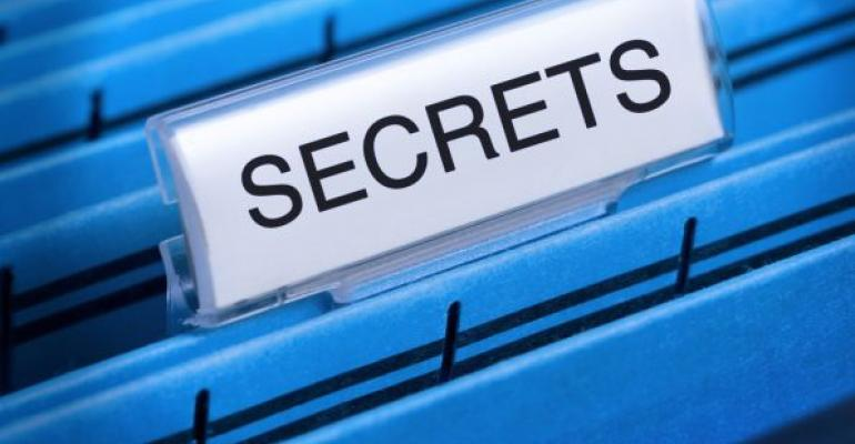 Secrets tab on blue hanging desk files