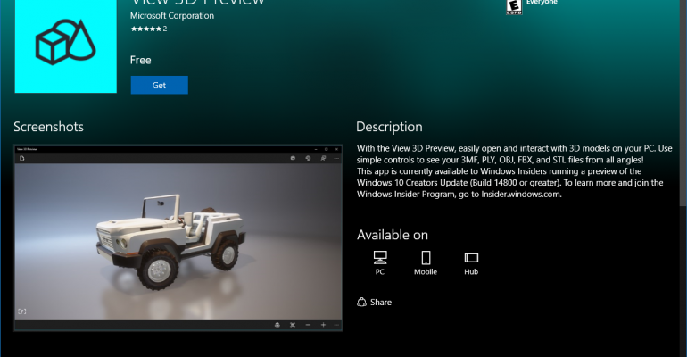 App Tour: View 3D for Windows 10 Redstone 2 (Creators Update)