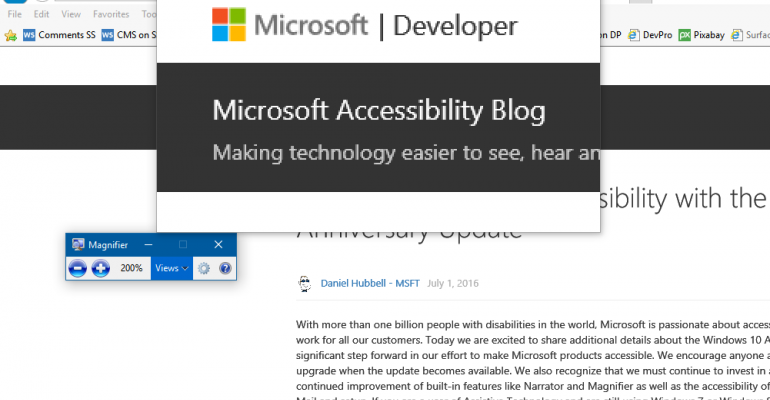 Accessibility in the Windows 10 Anniversary Update