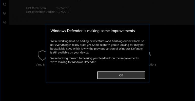 App Tour: Windows Defender Dashboard in Windows 10 (Creators Update)