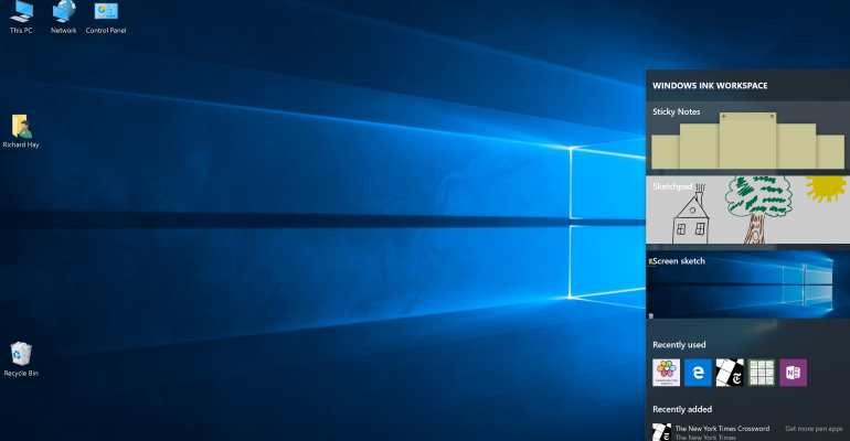 Windows Ink Workspace in the Windows 10 Anniversary Update
