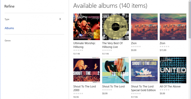 Gallery: Music in the Windows 10 Store Beta