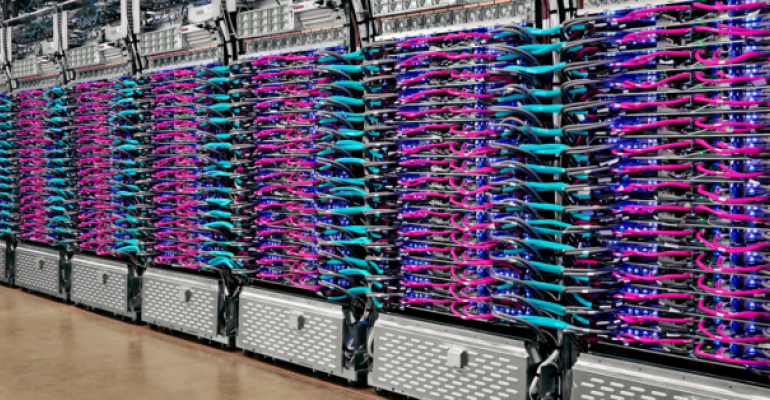 A row of TPU v3 Pods inside a Google data center
