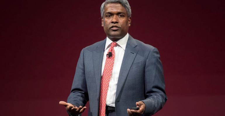Thomas Kurian, president of product development at Oracle Corp., speaks during the Oracle OpenWorld 2017 conference in San Francisco, California, U.S. Photographer: David Paul Morris/Bloomberg