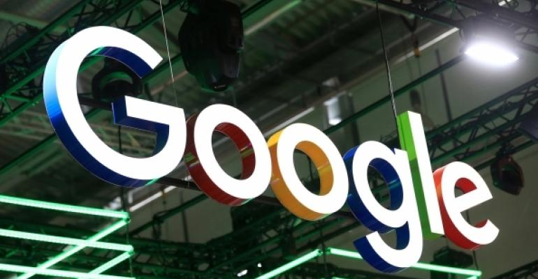 Google Logo Hanging from the Rafters