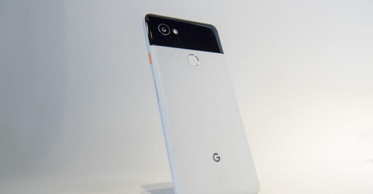 The Google Inc. Pixel 2 XL smartphone is displayed during a product launch event in San Francisco, California, U.S.