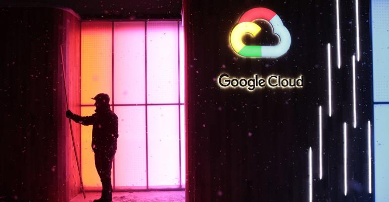 Google Cloud logo illuminated
