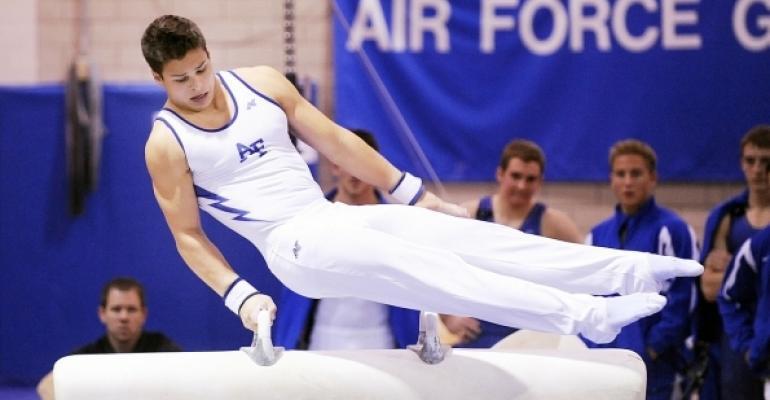 air force gymnast on plummel horse