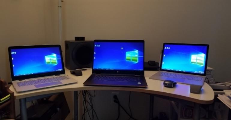 laptops on workstation