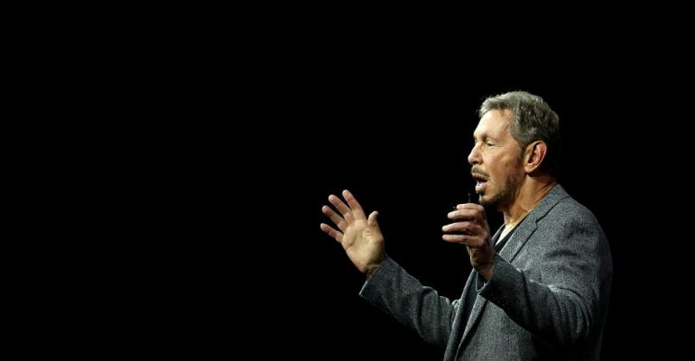 Oracle co-founder and Chairman Larry Ellison delivers a keynote address during the Oracle OpenWorld conference on October 22, 2018 in San Francisco.