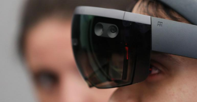 A Microsoft Corp. HoloLens virtual reality (VR) headset. Photographer: Chris Ratcliffe/Bloomberg