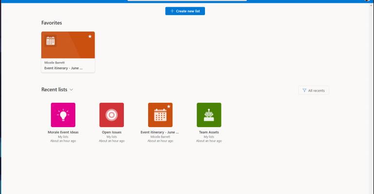 Screenshot of Microsoft Lists tool