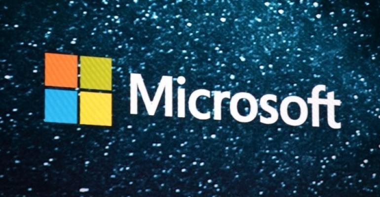 Microsoft Logo on a star background
