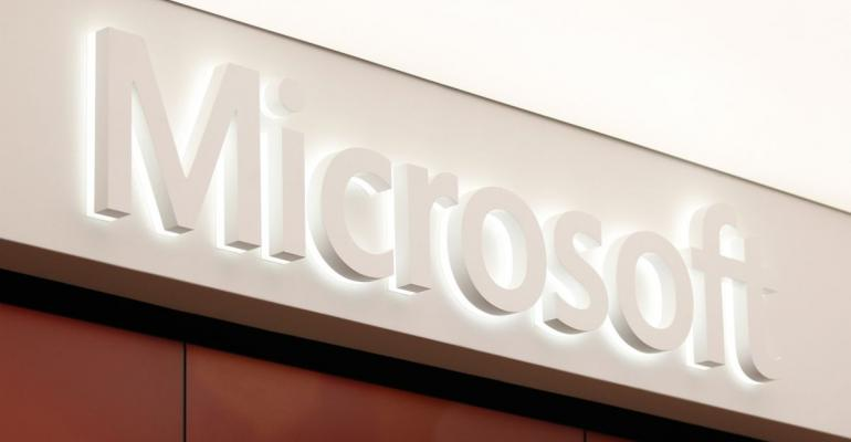 The Microsoft Corp. logo is displayed at the company's store in Sydney, Australia. Photographer: Brendon Thorne/Bloomberg