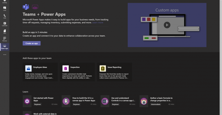 microsoft teams power platform main screen