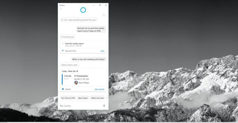 New Cortana capabilities in Microsoft 365 for productivity