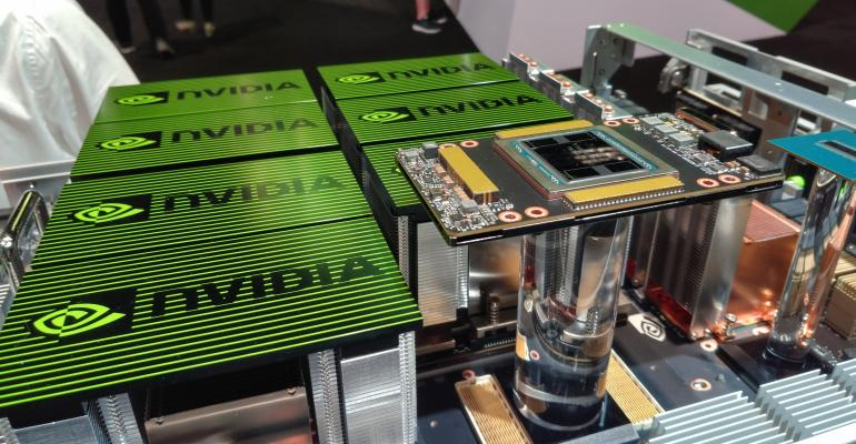 Nvidia's DGX-2 supercomputer for AI on display at GTC 2018 in San Jose, California