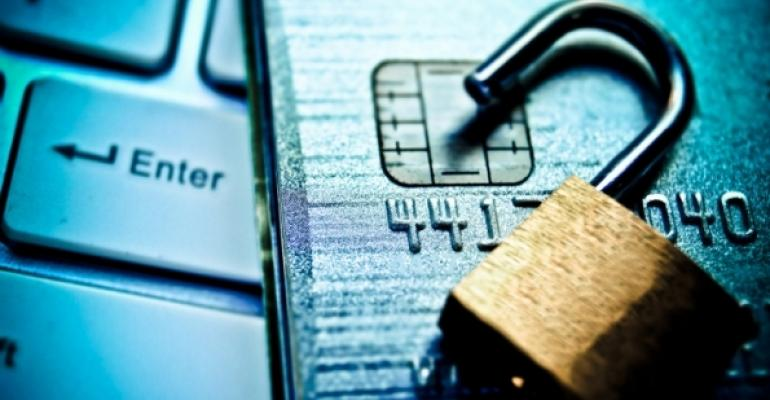 Open Padlock with Credit Card and Keyboard