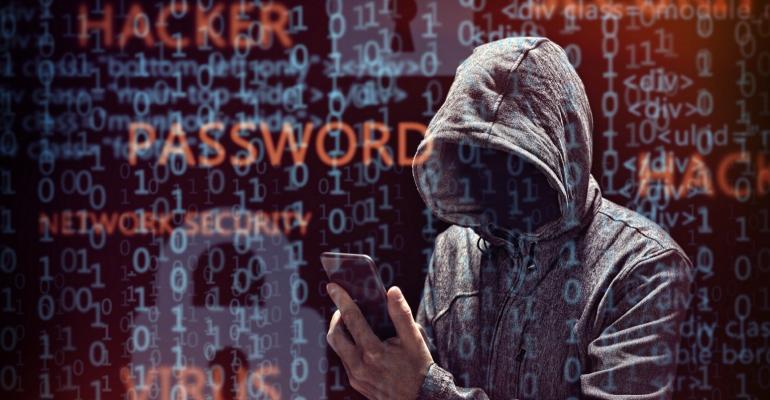 hacker breaking into a smartphone