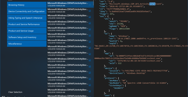 Windows 10 Redstone 4 Build 17083 - Windows Diagnostics Data Viewer