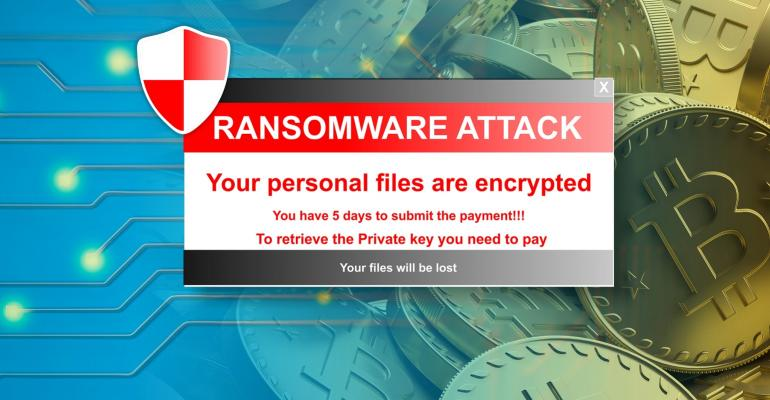 ransomware attack alert on a bitcoins background