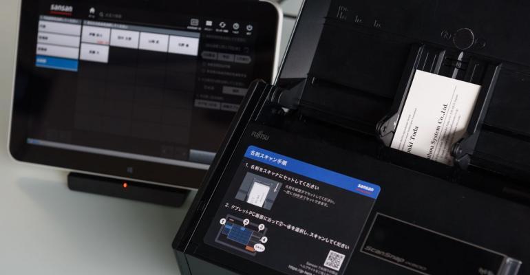 Sansan's business card scanner. Photographer: Akio Kon/Bloomberg