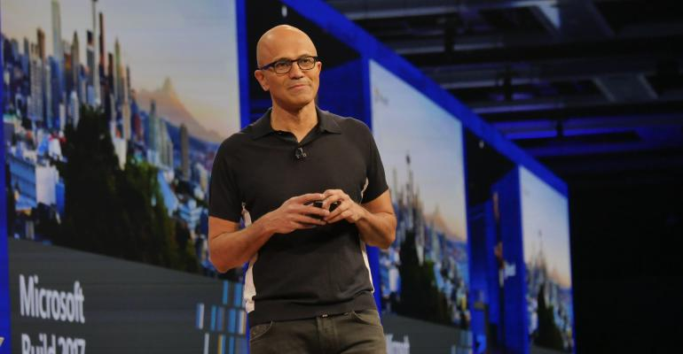 Microsoft CEO Satya Nadella Delivers a keynote at BUILD 2017.
