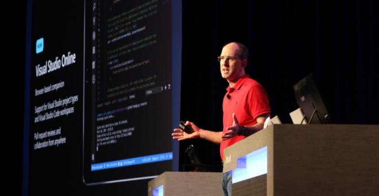 Scott Guthrie speaks at Build 2019 on stage