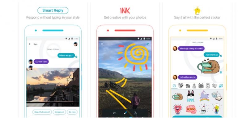 Three phone screens demonstrate app features