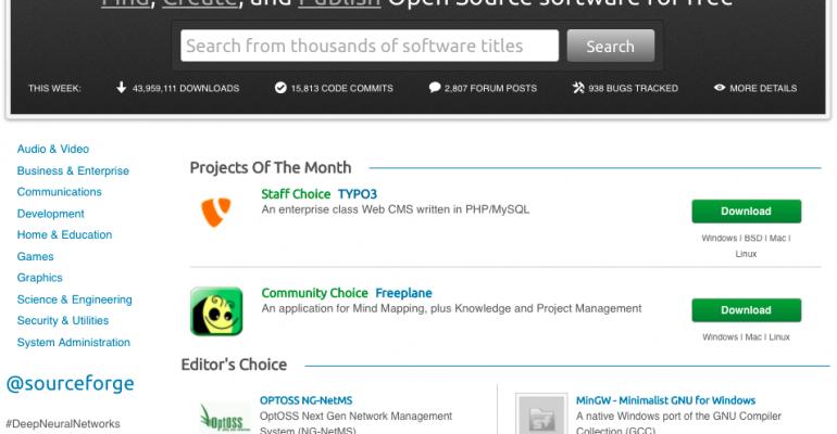 SourceForge website screen shot