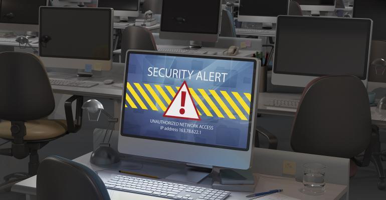 computer screen announcing security alert