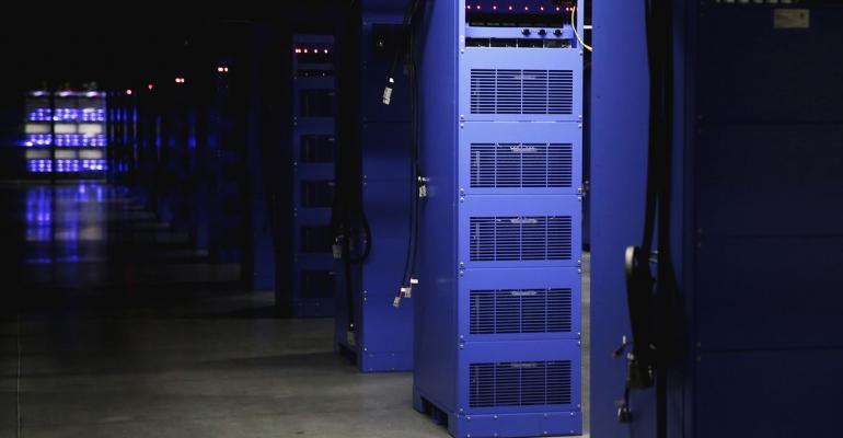 Data center with purple server racks