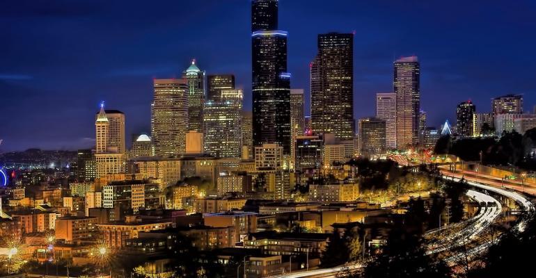 Nighttime skyline image