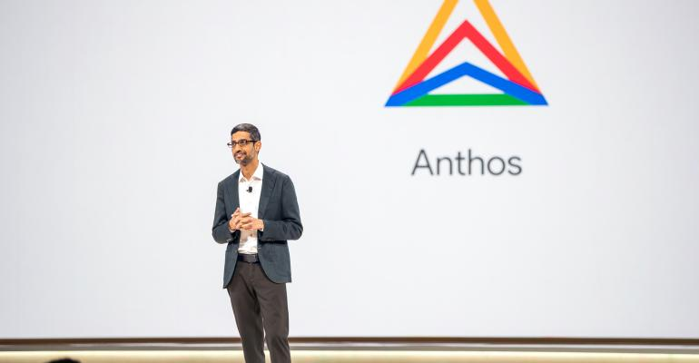 Google CEO Sundar Pichai unveiling Anthos at Google Cloud Next 2019