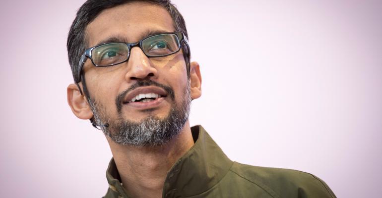 Sundar Pichai, chief executive officer of Google Inc. Photographer: David Paul Morris/Bloomberg