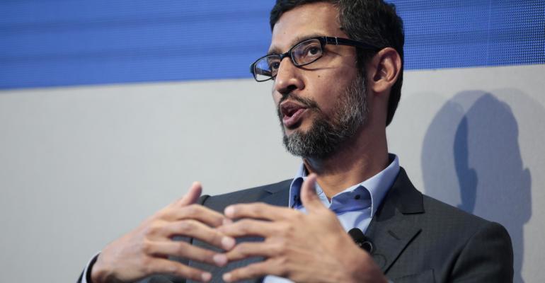 Sundar Pichai, chief executive officer of Google Inc., at Davos onJan. 24.Photographer: Jason Alden/Bloomberg