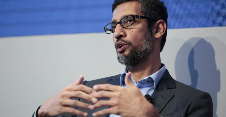 Sundar Pichai, chief executive officer of Google Inc., at Davos on Jan. 24. Photographer: Jason Alden/Bloomberg