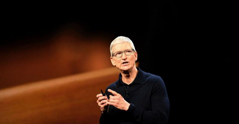 Tim Cook, chief executive officer of Apple Inc., speaks during the Apple Worldwide Developers Conference (WWDC) in San Jose, California, U.S. Photographer: David Paul Morris/Bloomberg