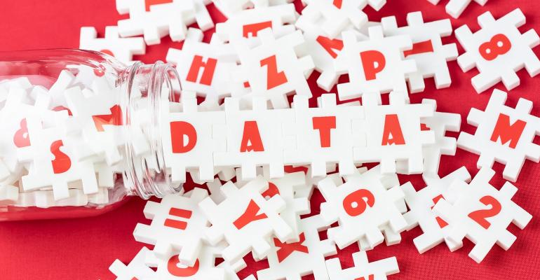 jumbled letters with data spelled out