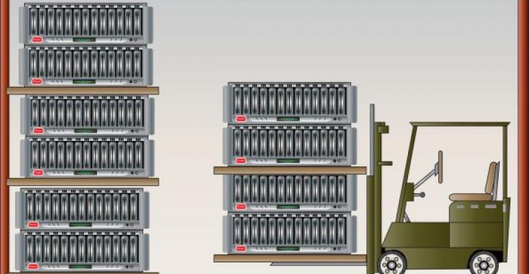 Illustration of database warehouse with lift and servers