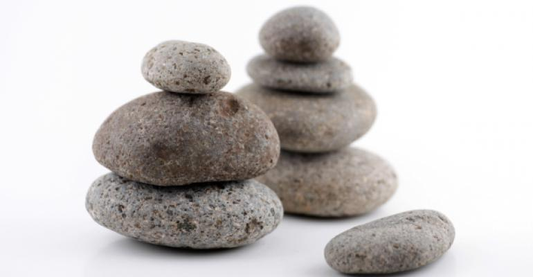 two stacks of rounded river stones